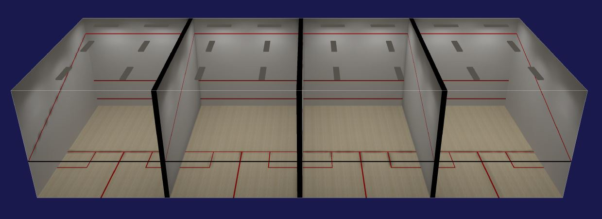 Squash court lighting layout for Average cost racquetball court